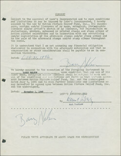 BARRY NELSON - DOCUMENT DOUBLE SIGNED 10/31/1946