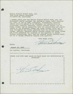 STEVE COCHRAN - DOCUMENT DOUBLE SIGNED 08/10/1946