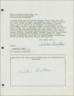 VICTOR CUTLER - DOCUMENT DOUBLE SIGNED 08/05/1946
