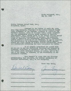 DON RED BARRY - DOCUMENT SIGNED 05/13/1946 CO-SIGNED BY: JANE FRAZEE