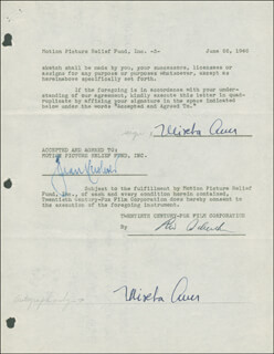 Autographs: MISCHA AUER - DOCUMENT DOUBLE SIGNED 06/26/1946