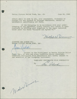 STEPHEN MICHAEL DUNNE - DOCUMENT DOUBLE SIGNED 06/26/1946 CO-SIGNED BY: JEAN HERSHOLT