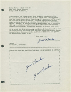 JESS BARKER - DOCUMENT MULTI-SIGNED CIRCA 1946