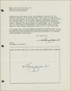 KIRBY GRANT - DOCUMENT DOUBLE SIGNED CIRCA 1946