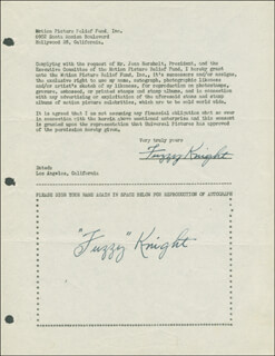 FUZZY KNIGHT - DOCUMENT DOUBLE SIGNED CIRCA 1946