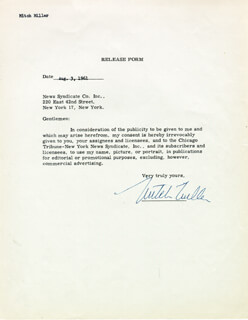 MITCH MILLER - DOCUMENT SIGNED 08/03/1961
