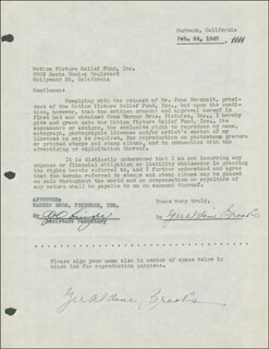 GERALDINE BROOKS - DOCUMENT DOUBLE SIGNED 02/24/1947
