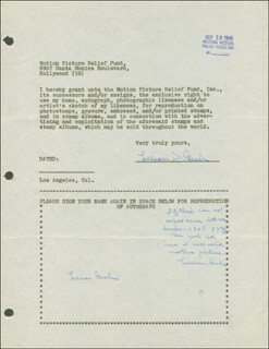 LILLIAN GISH - DOCUMENT MULTI-SIGNED 09/19/1946