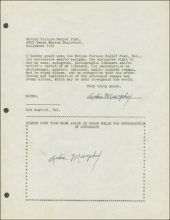 AUDIE MURPHY - DOCUMENT DOUBLE SIGNED