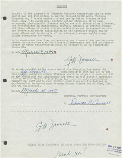 JEFF DONNELL - DOCUMENT DOUBLE SIGNED 03/04/1947