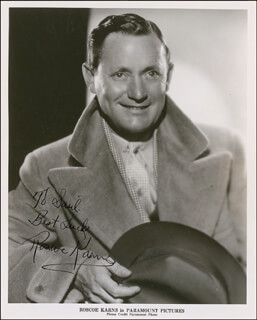ROSCOE KARNS - AUTOGRAPHED INSCRIBED PHOTOGRAPH CIRCA 1935