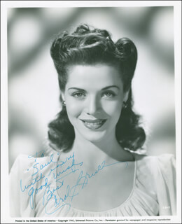 CAROL BRUCE - INSCRIBED PRINTED PHOTOGRAPH SIGNED IN INK CIRCA 1949