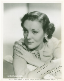 LOUISE CAMPBELL - AUTOGRAPHED INSCRIBED PHOTOGRAPH CIRCA 1938