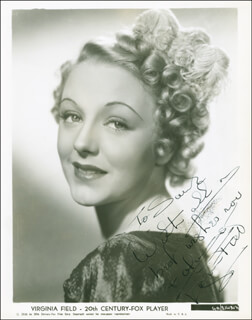 VIRGINIA FIELD - INSCRIBED PRINTED PHOTOGRAPH SIGNED IN INK CIRCA 1938