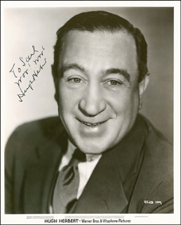 HUGH HERBERT - AUTOGRAPHED INSCRIBED PHOTOGRAPH CIRCA 1938