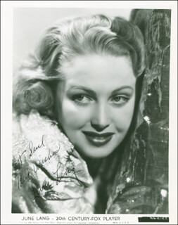 JUNE LANG - AUTOGRAPHED INSCRIBED PHOTOGRAPH CIRCA 1938