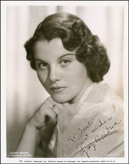 OLYMPE BRADNA - AUTOGRAPHED INSCRIBED PHOTOGRAPH CIRCA 1938