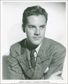 JOHNNY DOWNS - AUTOGRAPHED INSCRIBED PHOTOGRAPH CIRCA 1940