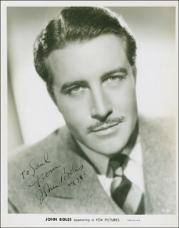 Autographs: JOHN BOLES - INSCRIBED PRINTED PHOTOGRAPH SIGNED IN INK 1934