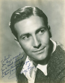 JEFFREY LYNN - AUTOGRAPHED INSCRIBED PHOTOGRAPH CIRCA 1940