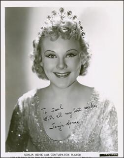 SONJA HENIE - INSCRIBED PRINTED PHOTOGRAPH SIGNED IN INK CIRCA 1937