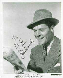 DONALD WOODS - AUTOGRAPHED INSCRIBED PHOTOGRAPH CIRCA 1940