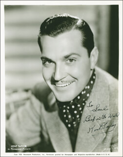 KENT TAYLOR - AUTOGRAPHED INSCRIBED PHOTOGRAPH CIRCA 1938
