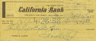 HAROLD LLOYD - AUTOGRAPHED SIGNED CHECK 04/26/1958