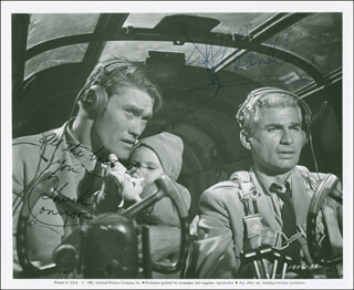 Autographs: THE LADY TAKES A FLYER MOVIE CAST - PHOTOGRAPH SIGNED CO-SIGNED BY: JEFF CHANDLER, CHUCK CONNORS