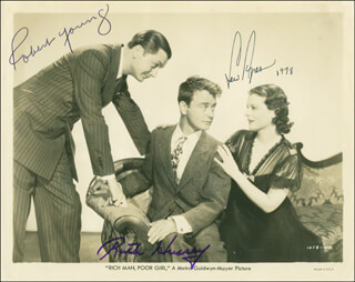 RICH MAN, POOR GIRL MOVIE CAST - AUTOGRAPHED SIGNED PHOTOGRAPH 1978 CO-SIGNED BY: ROBERT YOUNG, LEW AYRES, RUTH HUSSEY