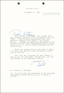 PRESIDENT RICHARD M. NIXON - TYPED LETTER SIGNED 12/21/1989