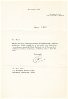 PRESIDENT RICHARD M. NIXON - TYPED LETTER SIGNED 01/07/1975