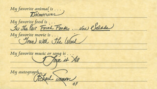 Autographs: RICHARD SIMMONS - QUESTIONNAIRE SIGNED 2005