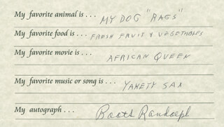 BOOTS RANDOLPH - QUESTIONNAIRE SIGNED