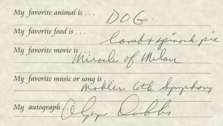 OLYMPIA DUKAKIS - QUESTIONNAIRE SIGNED