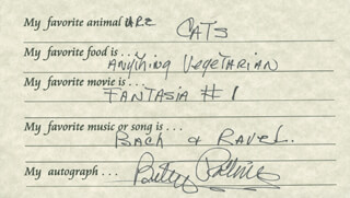 BETSY PALMER - QUESTIONNAIRE SIGNED