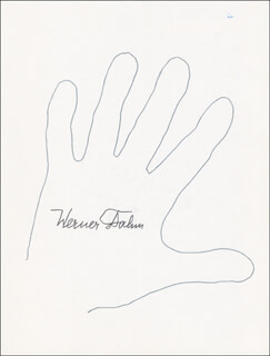 WERNER DAHM - HAND/FOOT PRINT OR SKETCH SIGNED