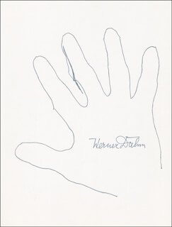 Autographs: WERNER DAHM - HAND/FOOT PRINT OR SKETCH SIGNED