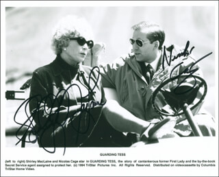 GUARDING TESS MOVIE CAST - AUTOGRAPHED SIGNED PHOTOGRAPH CO-SIGNED BY: SHIRLEY MacLAINE, NICOLAS CAGE