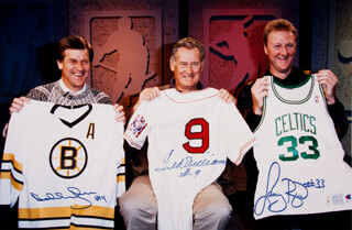 TED WILLIAMS - AUTOGRAPHED SIGNED PHOTOGRAPH CO-SIGNED BY: LARRY BIRD, BOBBY ORR