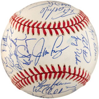 THE PHILADELPHIA PHILLIES - AUTOGRAPHED SIGNED BASEBALL CO-SIGNED BY: JIM FREGOSI, JUAN BELL, CURT SCHILLING, MICKEY MORANDINI, TODD PRATT, JOHN KRUK, RUBEN AMARO, MIKE WILLIAMS, LARRY ANDERSEN, BRAD BRINK, TOMMY GREENE, TERRY MULHOLLAND, BOBBY THIGPEN, DOUG LINDSEY, MARIANO DUNCAN, DAVE HOLLINS, RICKY JORDAN, KEVIN STOCKER, WES CHAMBERLAIN, PETE INCAVIGLIA, TONY LONGMIRE