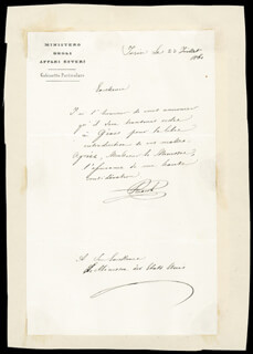 BETTINO RICASOLI - AUTOGRAPH LETTER SIGNED 07/23/1861