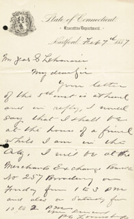 GOVERNOR PHINEAS LOUNSBURY - AUTOGRAPH LETTER SIGNED 02/07/1887