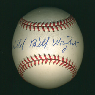Autographs: BURNIS WILD BILL WRIGHT - BASEBALL SIGNED