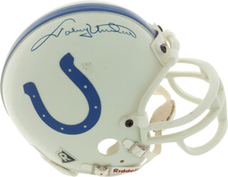 JOHNNY UNITAS - MINIATURE HELMET SIGNED