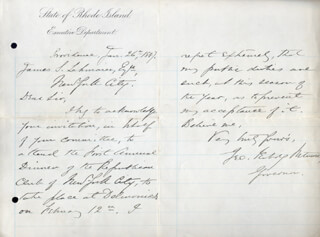 GEORGE P. WETMORE - AUTOGRAPH LETTER SIGNED 01/26/1887