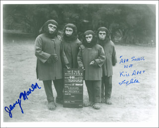 BATTLE FOR THE PLANET OF THE APES MOVIE CAST (1973) - AUTOGRAPHED SIGNED PHOTOGRAPH CO-SIGNED BY: JERRY MAREN, FELIX (COUSIN ITT) SILLA