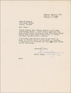 WALTER HAGEN - TYPED LETTER SIGNED 02/03/1956