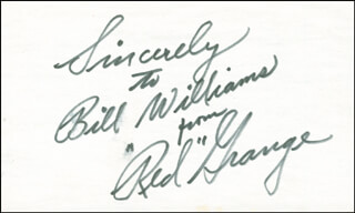 RED GRANGE - AUTOGRAPH NOTE SIGNED