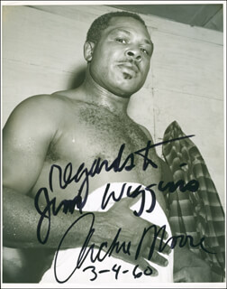 ARCHIE MOORE - AUTOGRAPHED INSCRIBED PHOTOGRAPH 03/04/1960